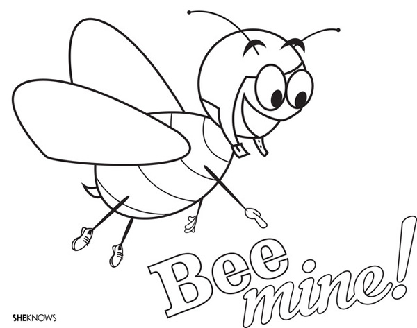 Valentine's Day Coloring Pages: Bee mine