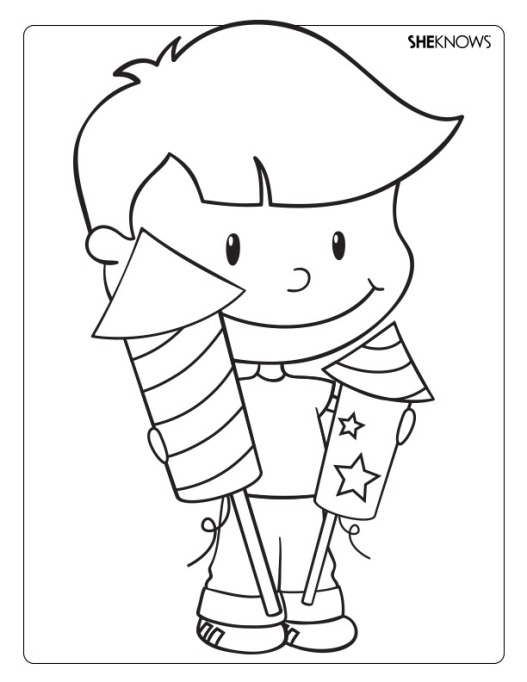 Kid with fireworks coloring page printable