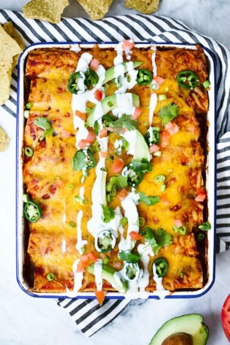 12 Healthier Alternatives To Your Favorite Winter Comfort Food: lighter chicken enchiladas