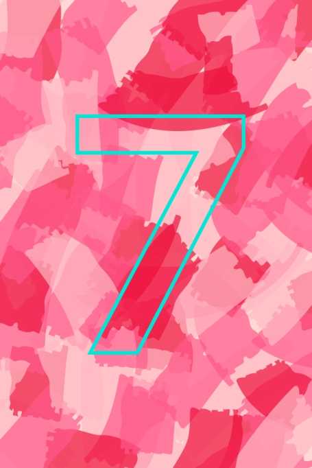 Number 7 on a colorful background