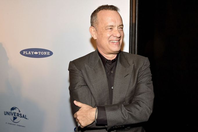 Tom Hanks in a gray suit