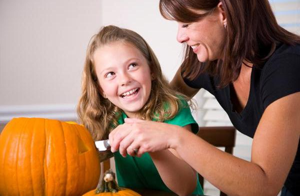 Carving pumpkins with tools