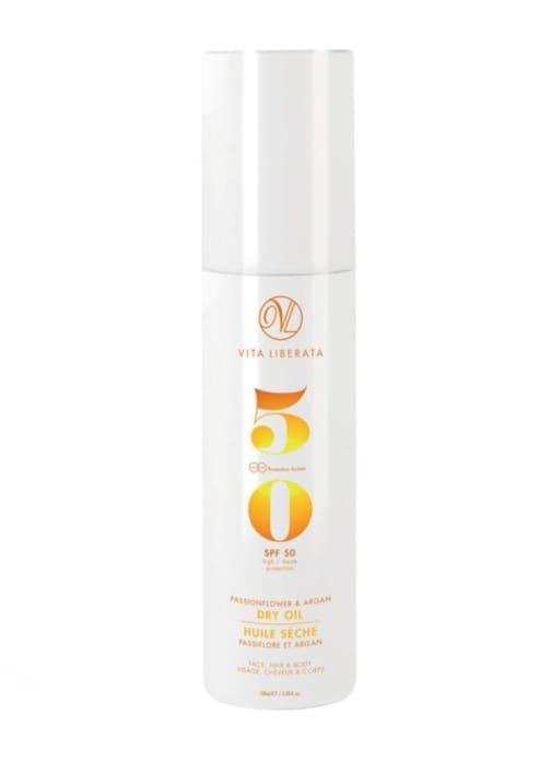 Best Scalp Sunscreens for Summer: Vita Liberata Passionflower & Argan Dry Oil Broad Spectrum SPF 50