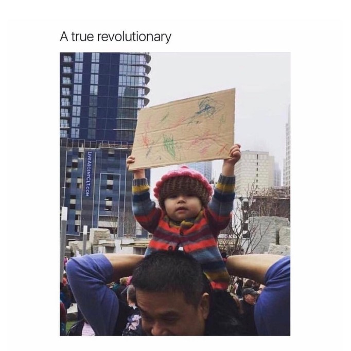 baby at protest