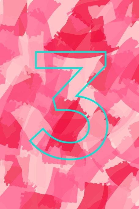 Number 3 on a colorful background