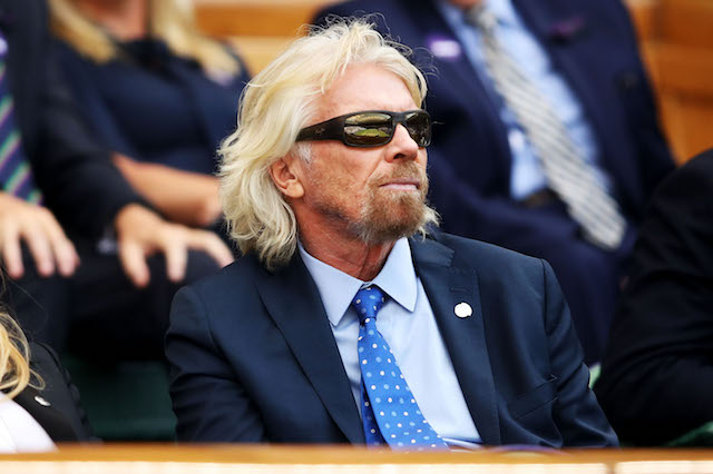 Sir Richard Branson attends day nine of the Wimbledon Lawn Tennis Championships at All England Lawn Tennis and Croquet Club
