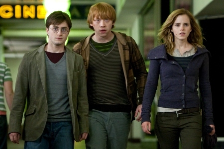 Daniel Radcliffe, Rupert Grint and Emma Watson in Harry Potter and the Deathly Hallows