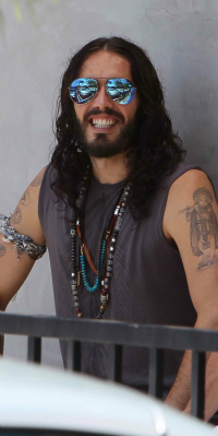 Russell Brand Leaving Golden Bridge Yoga in Hollywood
