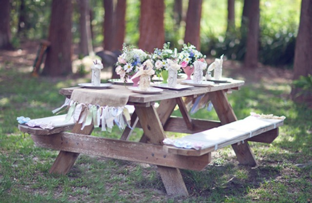 Picnic bench at garden party