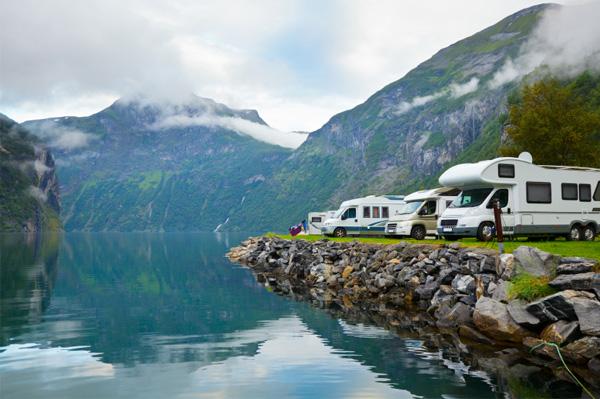 Campers at lake