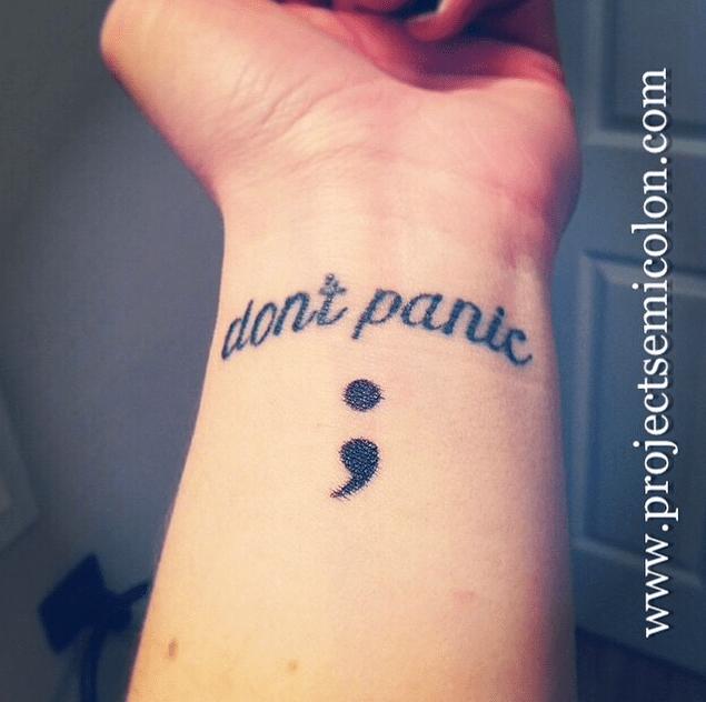 Don't panic semicolon tattoo