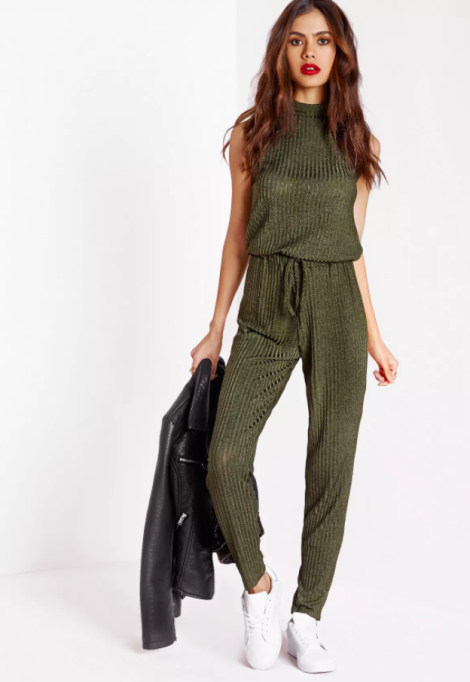Jumpsuits You Need in Your Closet | Missguided Roll Neck Skinny Rib Jumpsuit Khaki
