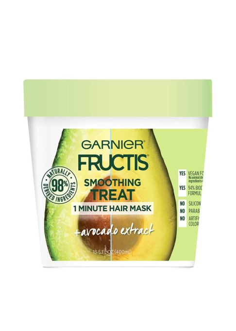 Best Under $20 Hair Masks | Garnier Smoothing Treat 1 Minute Hair Mask With Avocado Extract