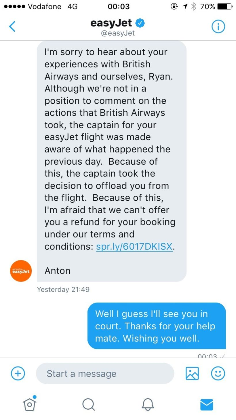 ryan williams easyjet
