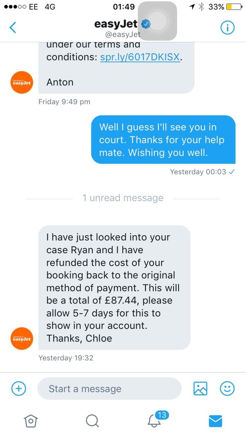 ryan williams easyjet tweet 2