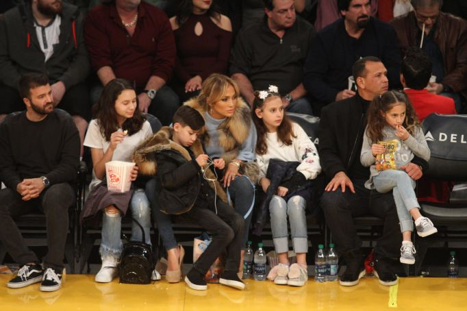 Jennifer Lopez and Alex Rodriguez at the Los Angeles Lakers Game