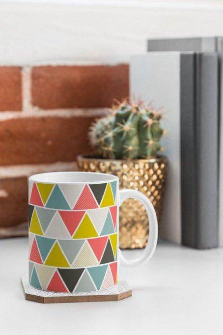 multicolored geometric mug Etsy