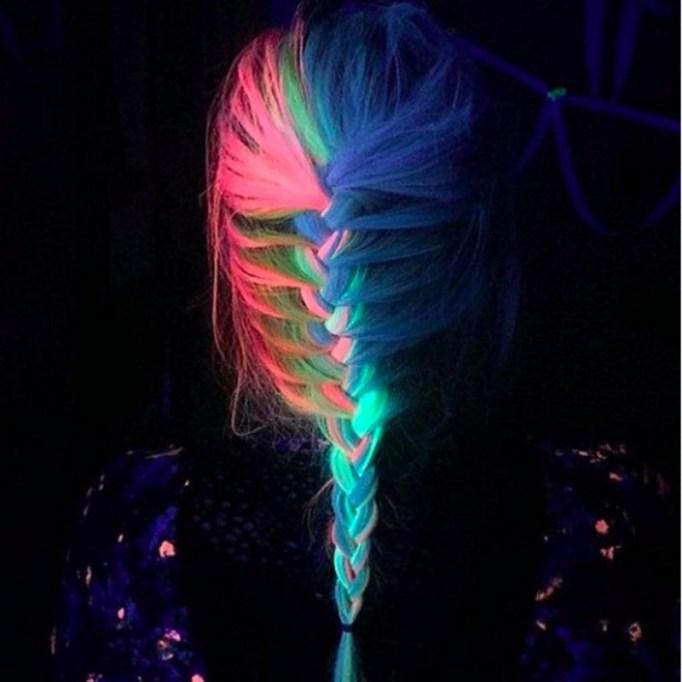 half head of UV reflective hair