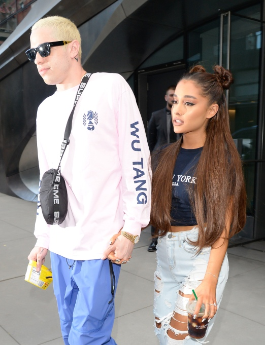 Ariana Grande and Pete Davidson walking around Midtown Manhattan