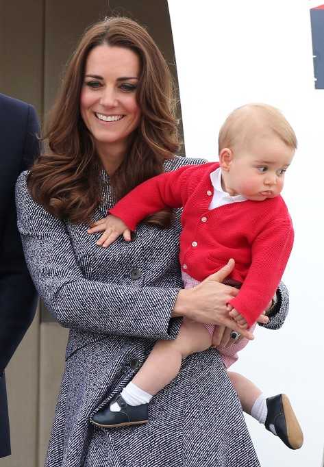 Prince George in a red cardigan