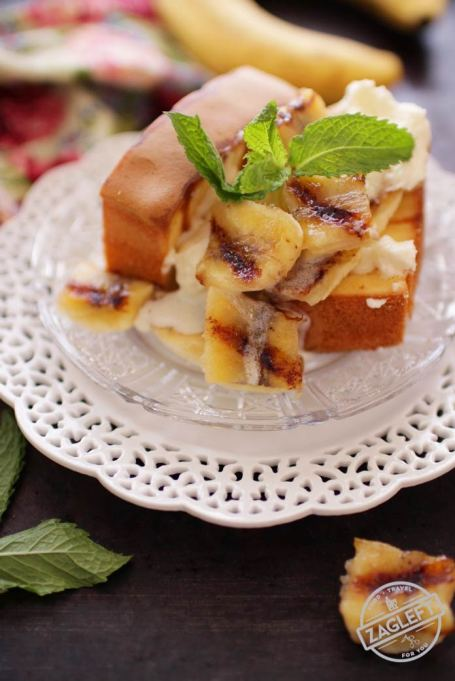 Grilled dessert recipes: Grilled pound cake with limoncello bananas are a great summer dessert