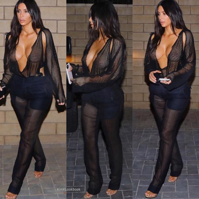 Kim Kardashian's Most Naked Looks: Arriving at a restaurant with Kanye West in Los Angeles | Kim Kardashian Fashion