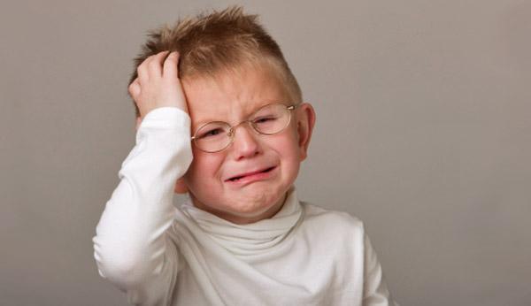 Little boy with a hurt head