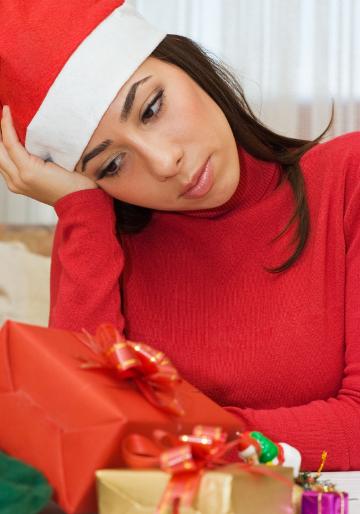sad woman alone during christmas