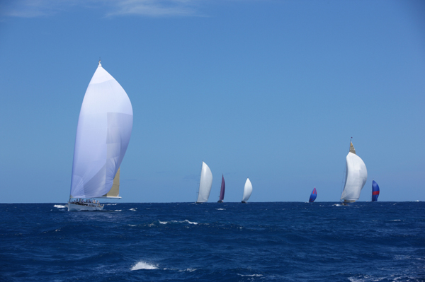 Sailing with spinnakers in St. Barths
