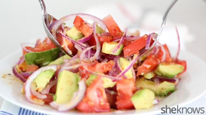 Fresh tomatoes and avocado make the