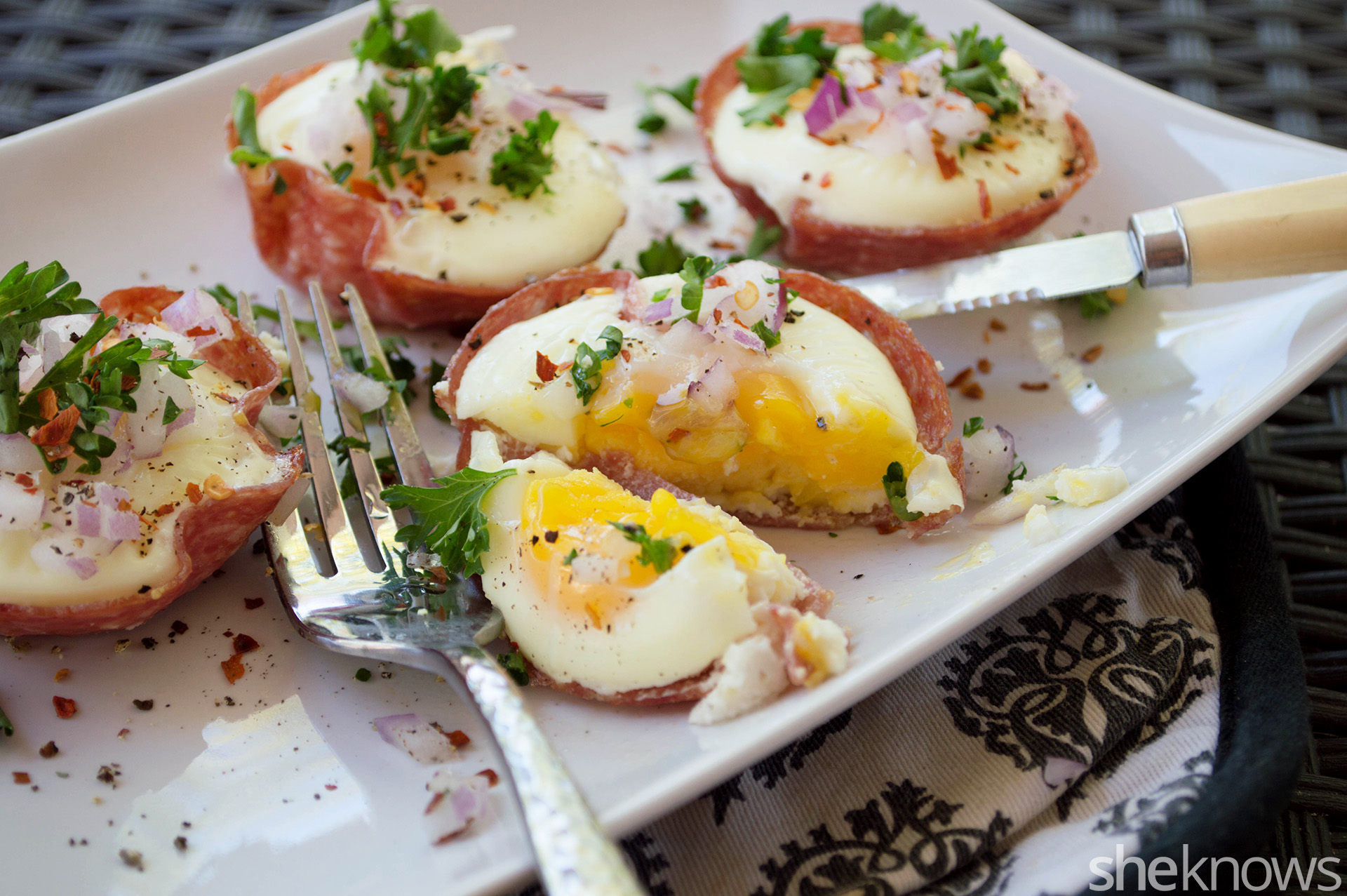 salami egg bowls