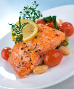 Salmon and tomatoes