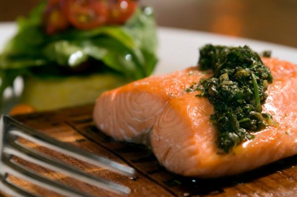 Salmon with Macadamia Nut Pesto