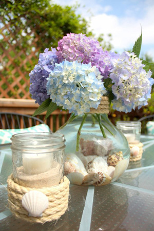 A beach inspired table scape with hydrangeas