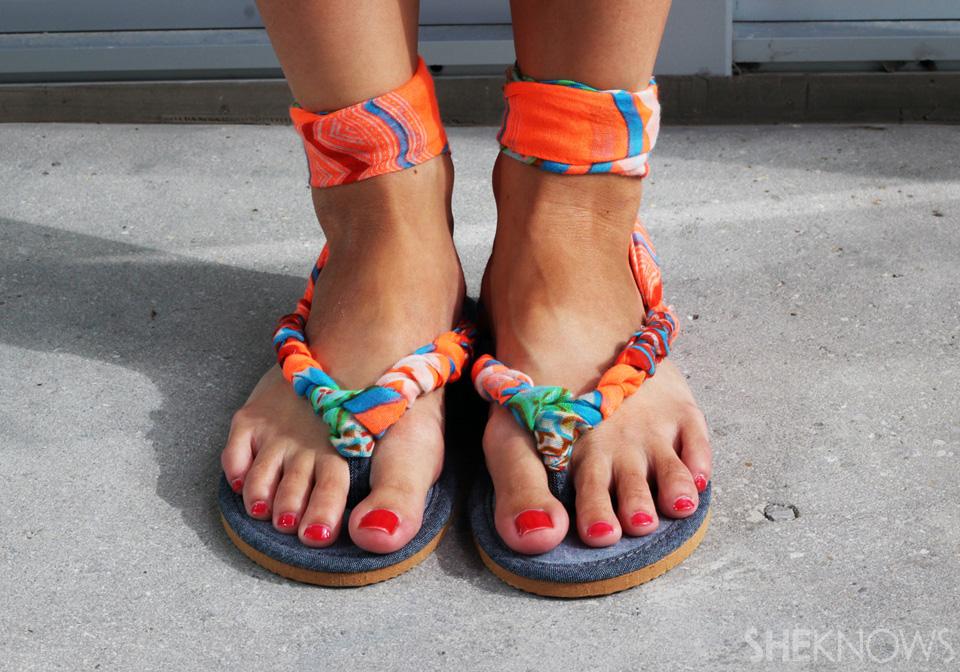 DIY scarf sandals tutorial