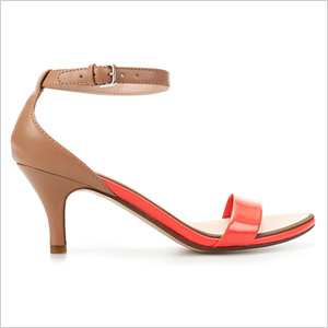shiny, strappy sandals