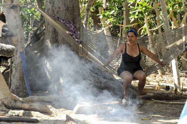 Sandra Diaz-Twine at Nuku camp on Survivor: Game Changers