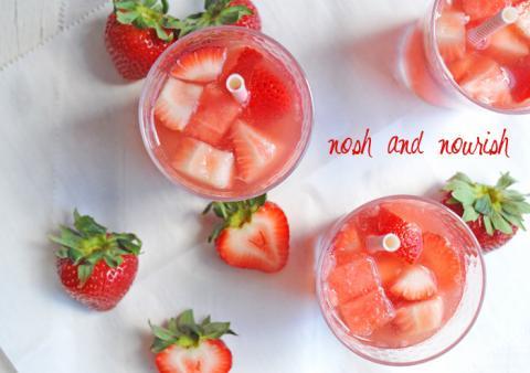 Strawberry watermelon sparkling sangria