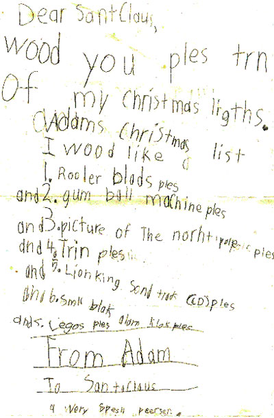 Santa, Adam would like a gumball machine