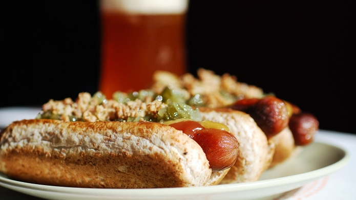 Three Hotdogs and a Beer