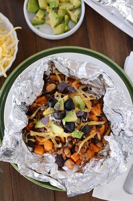 Foil sweet potato tacos