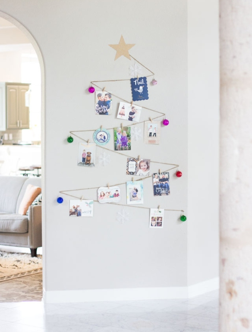 holiday card display with wall Christmas tree