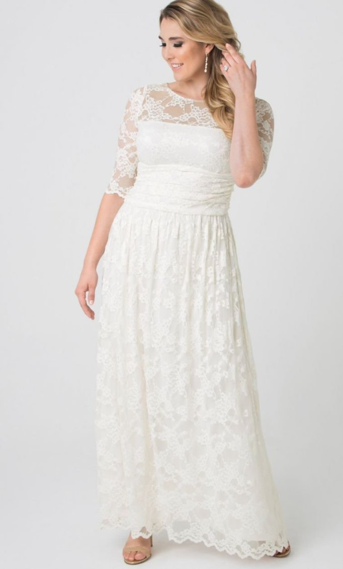 Ruched Waistband and Scalloped Lace Wedding Dress