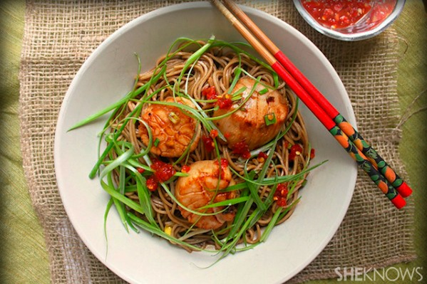 Scallops and soba noodles recipe