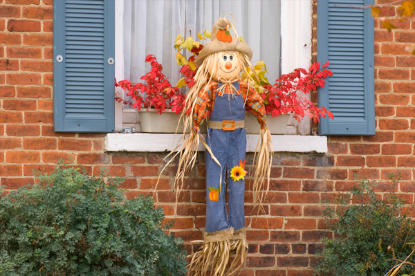 Scarecrow with straw hat