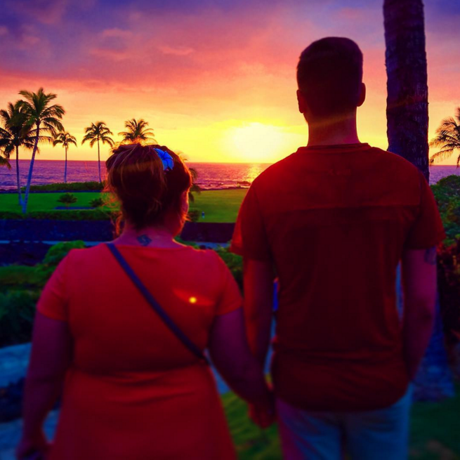 Tyler Baltierra and Catelynn Lowell looking at sunset