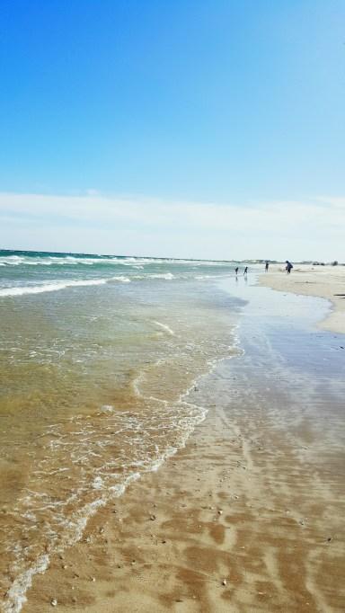 Sandy beach and waves