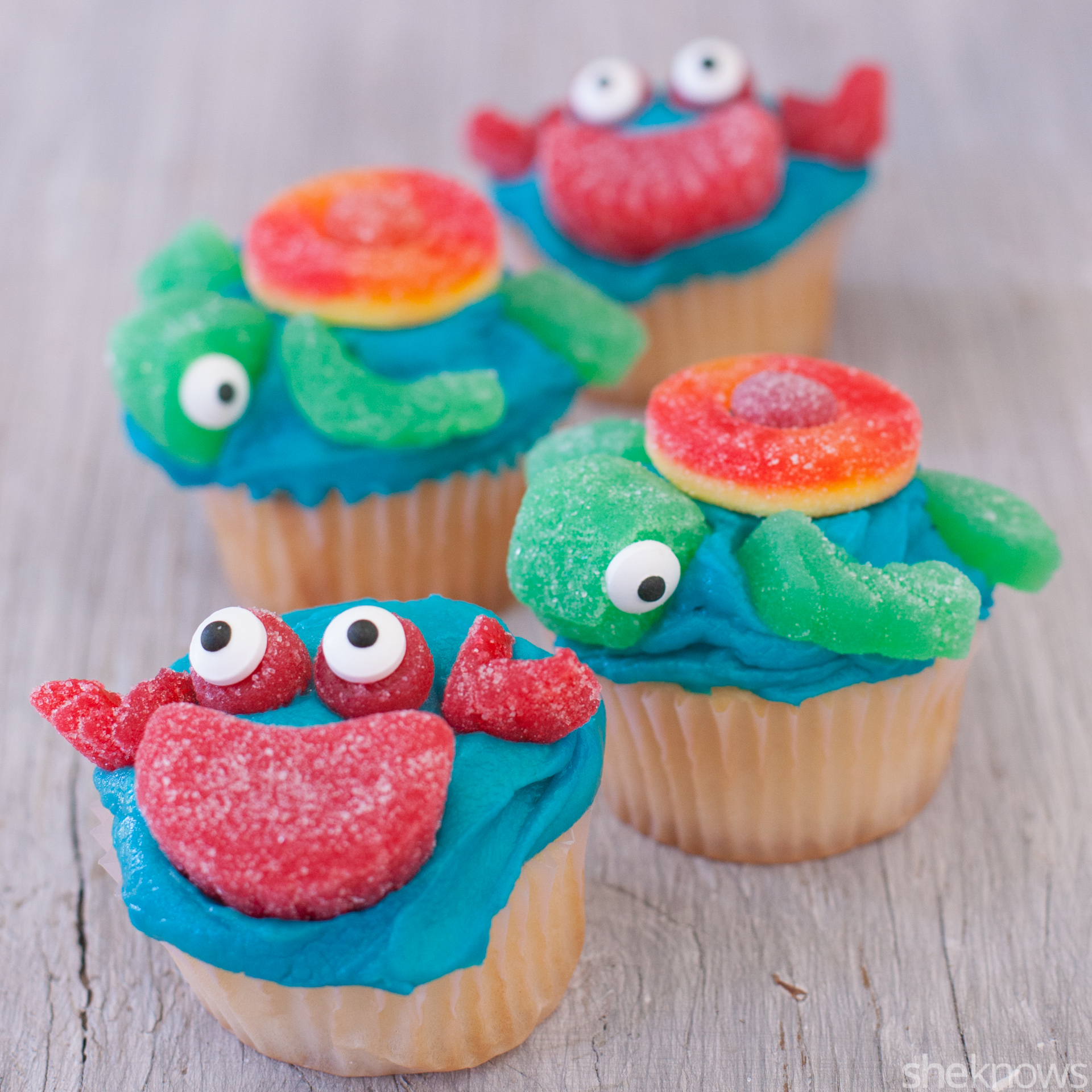 sea creature cupcake toppers