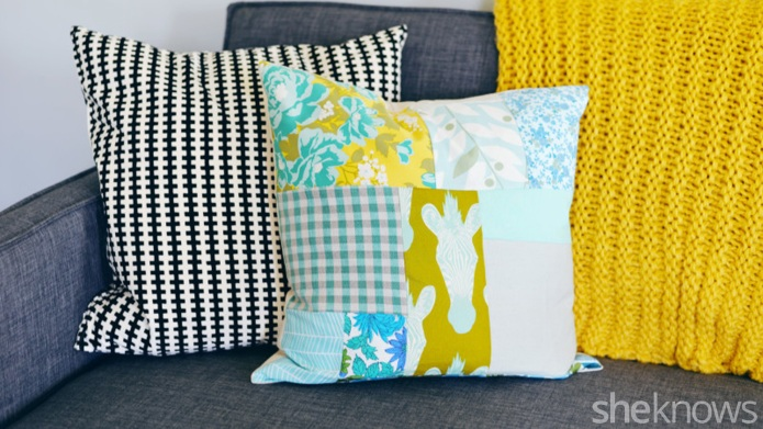 Anthro hack: DIY patchwork pillow
