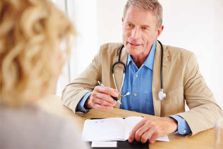 Senior woman meeting with doctor